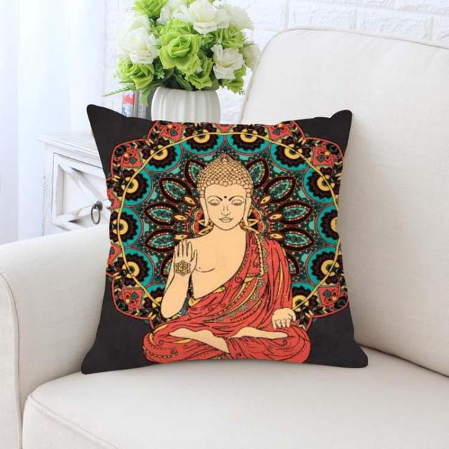 Buddha Cushion Cover Statue Gold Zen Meditation Elephant Mandala Interesting Buddha Decorative Pillows