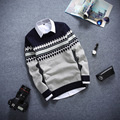 Men's sweaters tide of new 2016 autumn winters teenagers cultivate one's morality round collar color matching diamond sweater