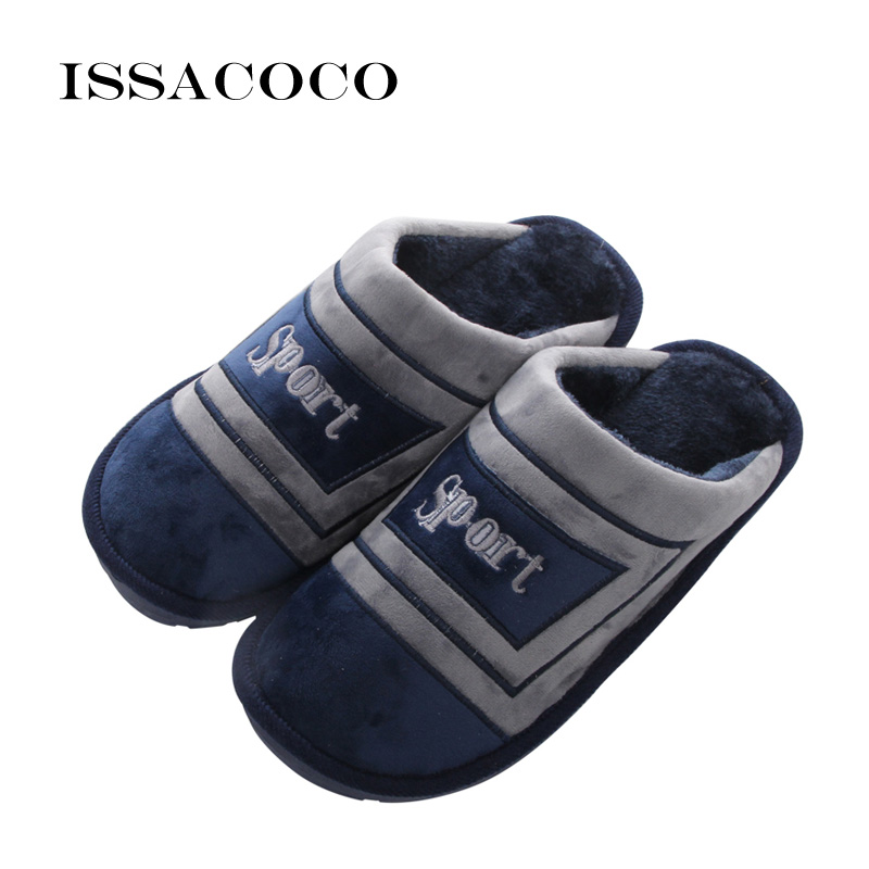 ISSACOCO Men's Winter Cotton Slippers Mens Shoes High Quality Home Slippers Large Size Cotton Slippers EU 45/46/47/48 In Stock