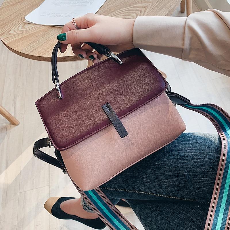 Contrast Color Female Tote Bag 2019 Fashion New Quality PU Leather Women's Designer Handbag High Capacity Shoulder Messenger Bag
