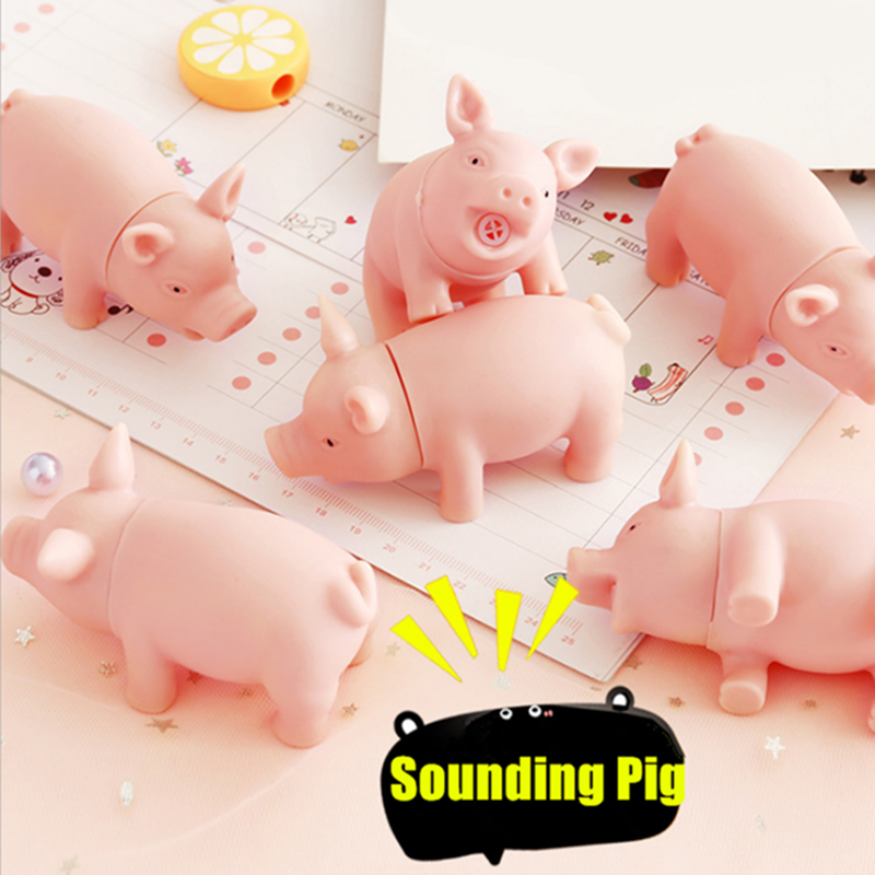 Creative Mini Pink Sounding Pig Squeeze Toy Children Baby Shower Toys Cute Release Stress Vocal Pig Birthday Gifts Party Favors