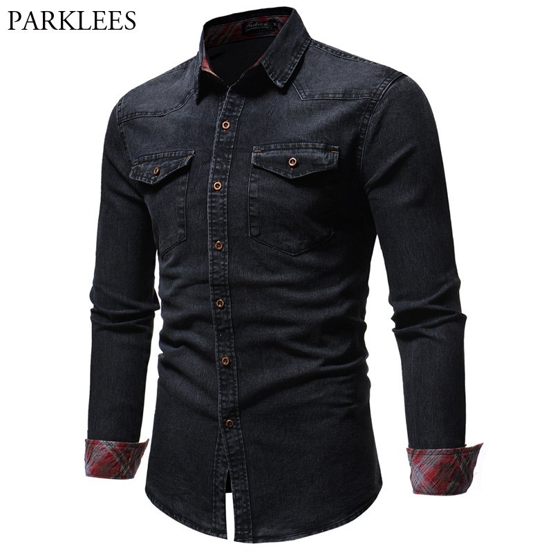 Double Pocket Black Denim Shirt Men 2018 Brand New Slim Long Sleeve Jeans Shirt Male Casual Work Easy-Fit Camisa Jeans Masculina