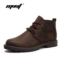 Vintage Style Men Boots Durable Rubber Sole Genuine Leather Autumn Boots Lace Up Water Proof
