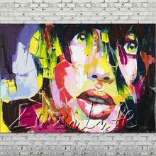 Palette knife portrait Face Oil painting Character figure canvas Hand painted Francoise Nielly wall Art picture 78