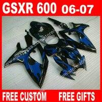 Black with new blue body Fairings for SUZUKI GSXR 600 750 high grade moto 2006 2007 K6 7 gift BACARDI GSXR600 GSXR750 kit CU94