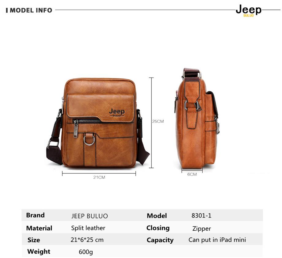 JEEP BULUO Luxury Brand Men Messenger Bags Crossbody Business Casual Handbag Male Spliter Leather Shoulder Bag Large Capacity 12