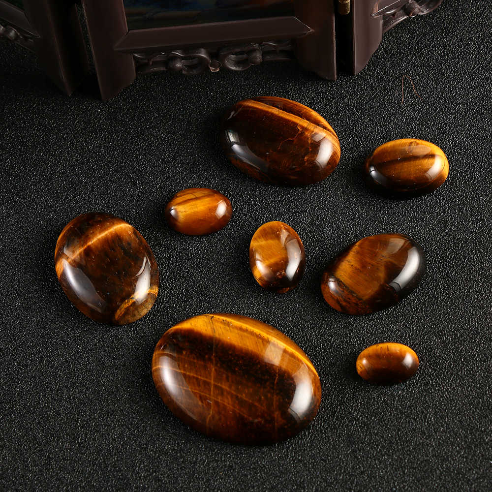 1PC Yellow Tiger Eye Cabochon Bead Natural Stones CAB No Hole Fit DIY Handicraft Ghost Crystal Pendant Home Ornaments Decoration