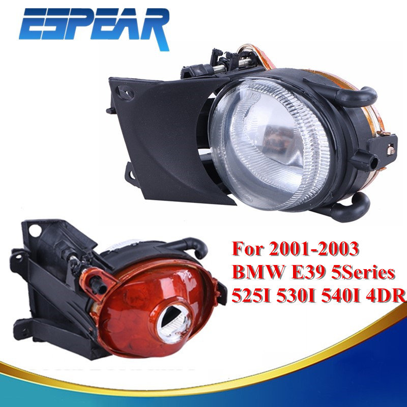 ФОТО 2x Car Front Bumper Driving Fog Light Lamp Housing For BMW E39 5-Series 525I 530I 540I 4-Door 2001 2002 2003 Car Accessory #989