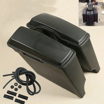 "Matte Black 5"" Stretched Hard Saddle bags Bag For Harley Road King Street Glide motorcycle motocross"