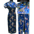 Navy Blue Chinese Women's Slim Elegant Satin Cheongsam Top Long Qipao Tradition Evening Party Dress Size S To 6XL J3093