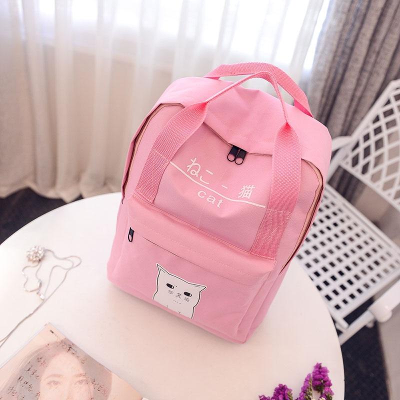 2017 new Japanese female cat backpack girls lovely bag backpack school bag jade shuttle fish female