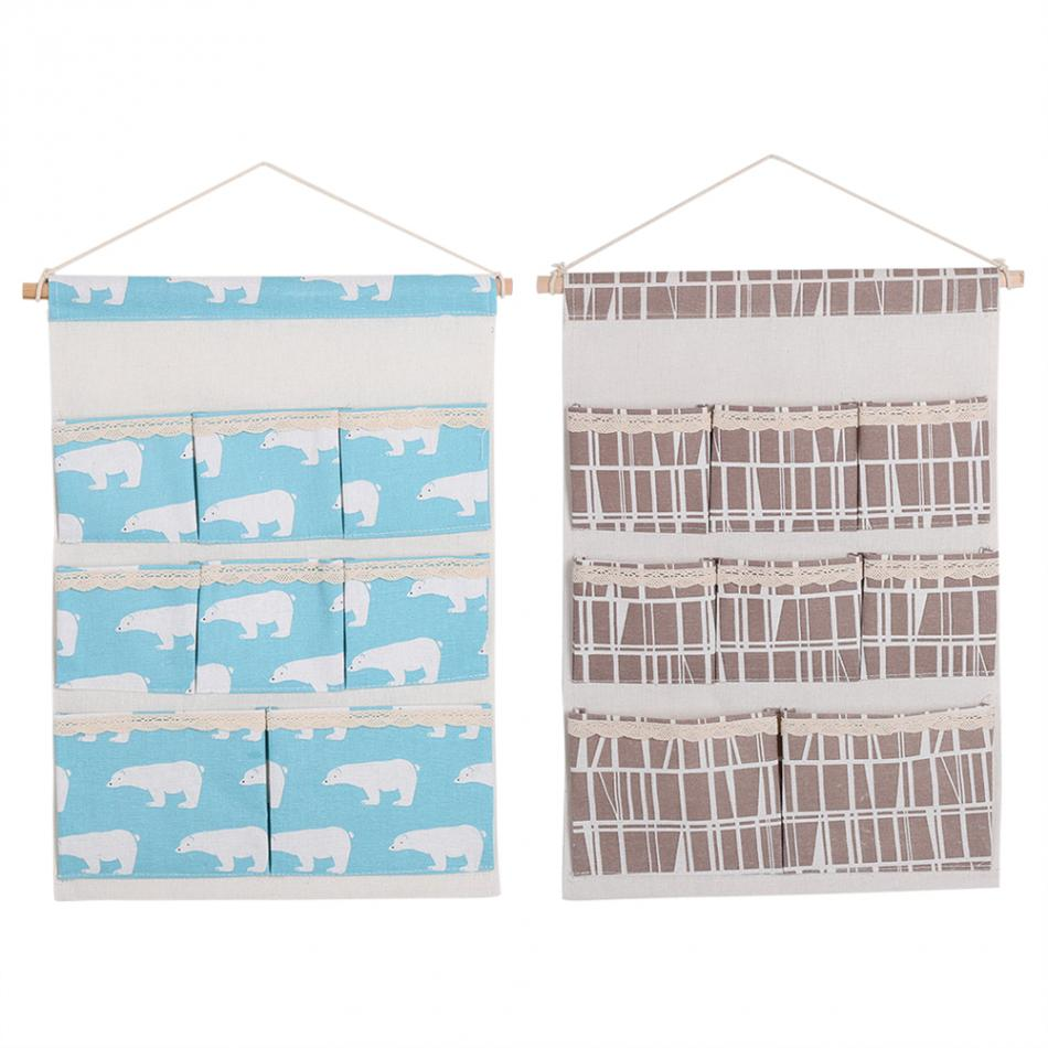 8 Pockets Wall Door Closet Hanging Storage Bag with Rope Shelf Organizer Bag