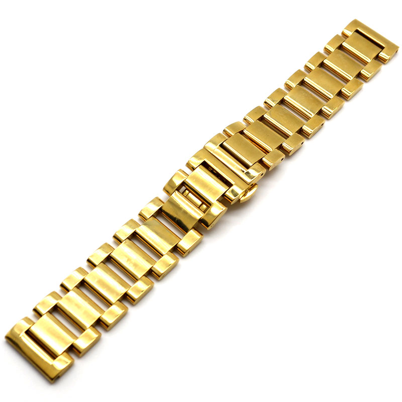 New High Quality 18mm/20mm/22mm Width Golden Solid Stainless Steel Watch Band Mens Strap For Hours kcchstar the eye of god high quality 316 titanium steel necklaces golden blue