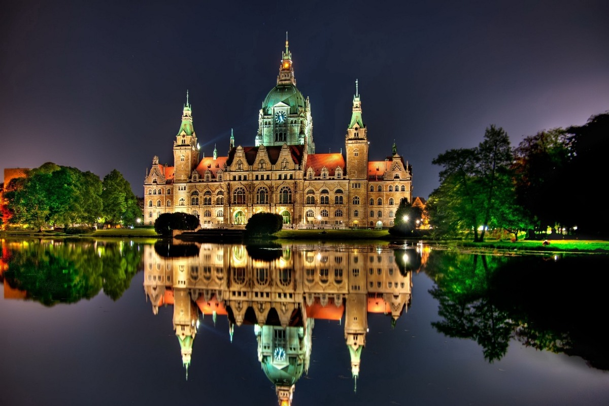 Castle Hannover Germany nightscapes 545PFJ wall art fabric poster custom print (frame available) for room decor home decoration