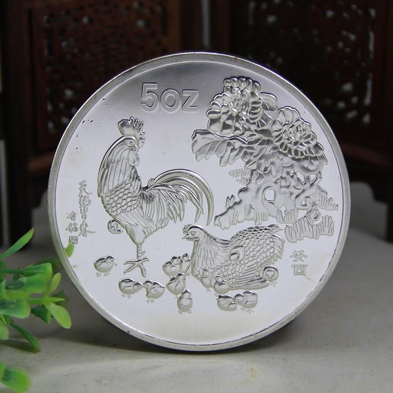1993 ano novo velho moeda de prata 5 onças doze galo do zodíaco moedas comemorativas para coleção presente