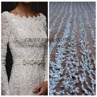 1 YARD Super Heavy Handmde Beaded Bridal Fabric 120cm Width Ivory Wedding Dress Lace Fabric Stock