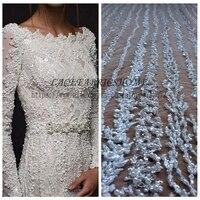 La Belleza 1 YARD Super heavy handmade beaded bridal fabric 51 width ivory wedding dress lace fabric