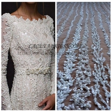 La Belleza 1 YARD Super heavy handmade beaded bridal fabric 51