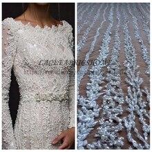 La Belleza 1 ярд супер тяжелый ручной работы из бисера Свадебные ткань 51 «Ширина цвета слоновой кости свадебное платье кружево
