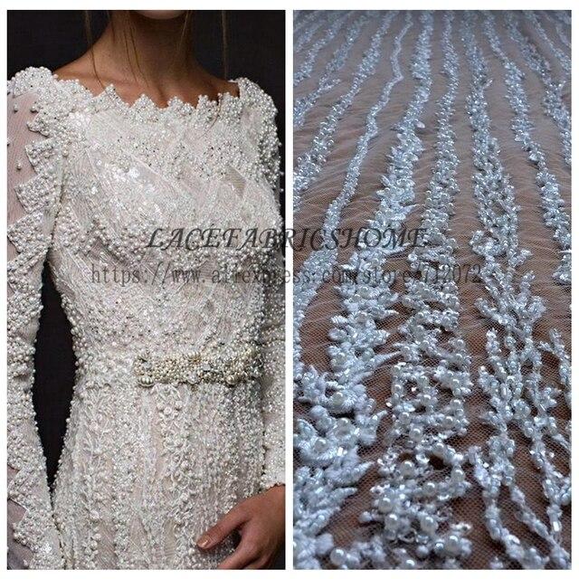 "La Belleza 1 YARD Super heavy handmade beaded bridal fabric 51"" width ivory wedding dress lace fabric"