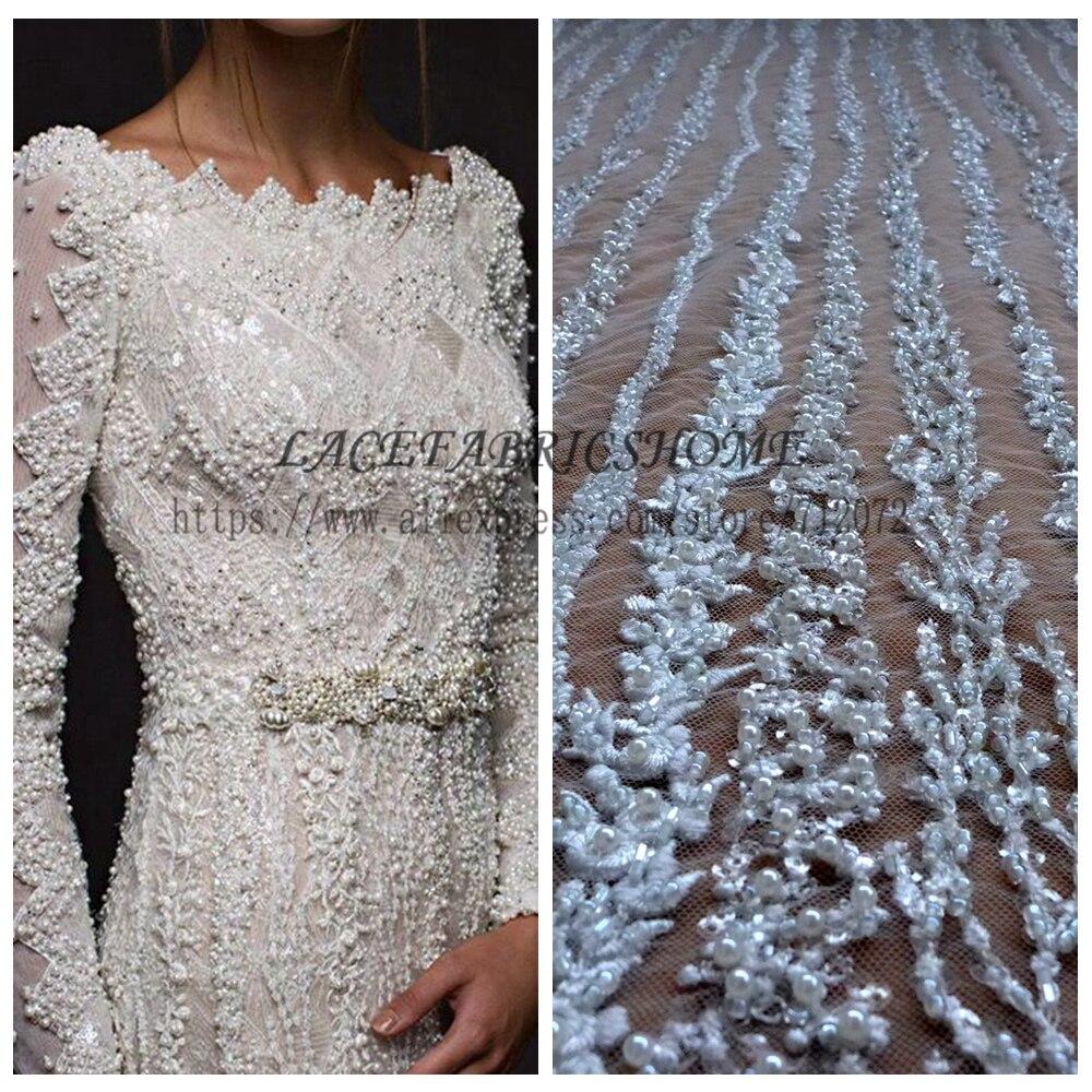 La Belleza 1 Yard Heavy Handmade Beaded Bridal Fabric 51 Width