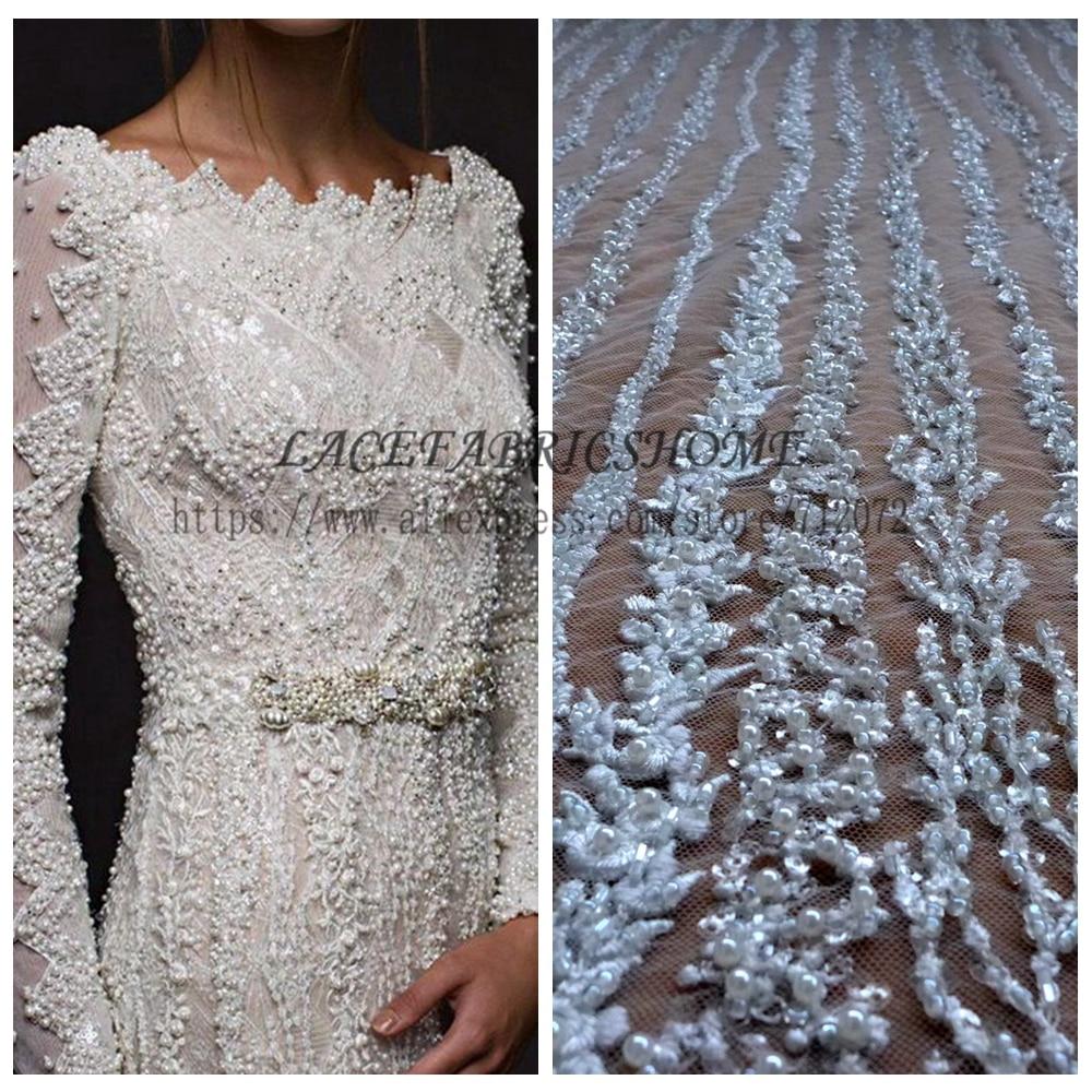 Wedding Dress Fabric: La Belleza Restock 1 YARD Super Heavy Handmde Beaded