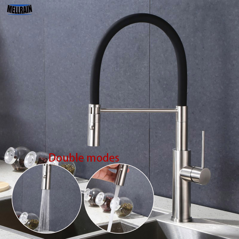 Double Water Wash Modes Pull Out Kitchen Faucet Single Hole Deck Mounted Stainless Steel Material Kitchen Sink Water Mixer stainless steel material double kitchen sink strainer with flexible hose x19028