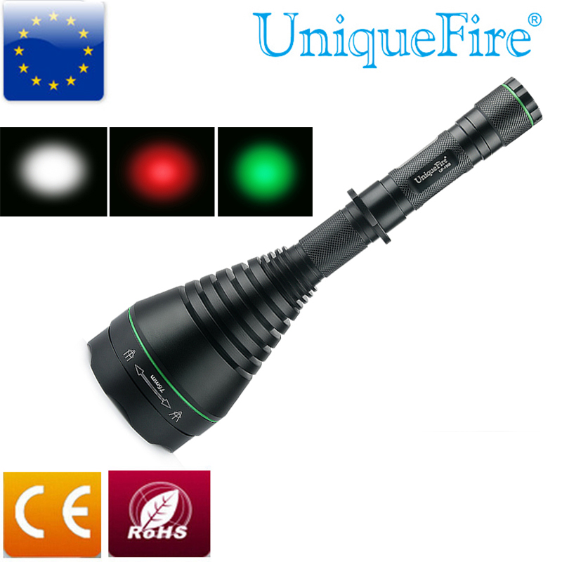 UniqueFire 1508 New Design 75mm lens Cree XPE White/Red/Green Light LED Flashlight Torch Zoomable For Outdoor Hunting,Camping uniquefire 1503 led flashlight cree xre green red white light led torch 50mm convex lens 3 mode for camping