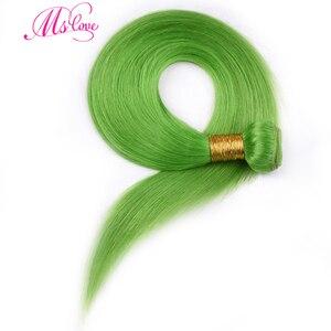 Image 3 - MS 愛事前色緑ストレートヘアの束で 100% レミーブラジル人間の髪のバンドル閉鎖 4*4 毛織り