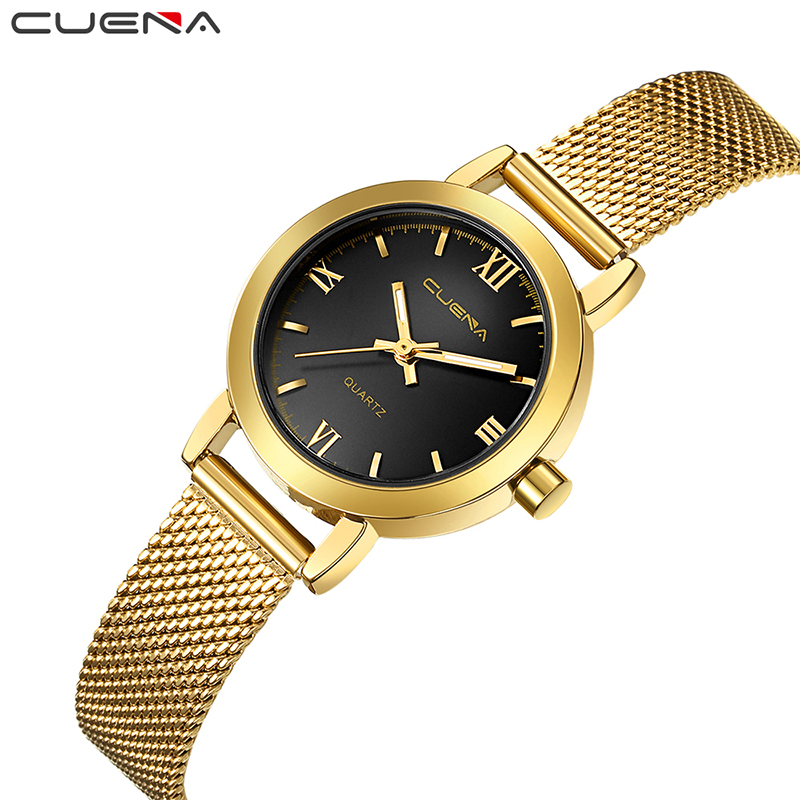 CUENA Fashion Ladies Watches Top Brand Luxury Women Quartz Wristwatches Stainless Steel Relojes Reloj Mujer Montre Femme Relogio kingsky brand fashion ladies luxury rectangle quartz wristwatches women famous brand rhinestone watch relojes mujer montre femme