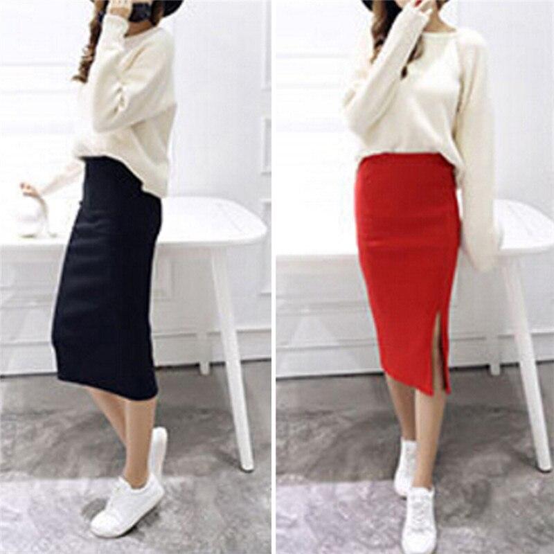 Summer Women Skirt Sexy Chic Pencil Skirts Wool Rib Knit Long Skirt Package Hip Split Waist Midi Skirt