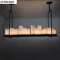 Led Pendant Lamp American Retro French Designer Style Marble Candle Holders Droplight Village Restaurant Droplight