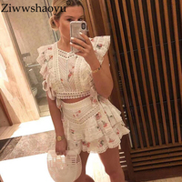 Ziwwshaoyu Beach Vacation Print Sets Square Collar Short Top + Ruffles Shorts elegant Lace splice Set Summer new women's