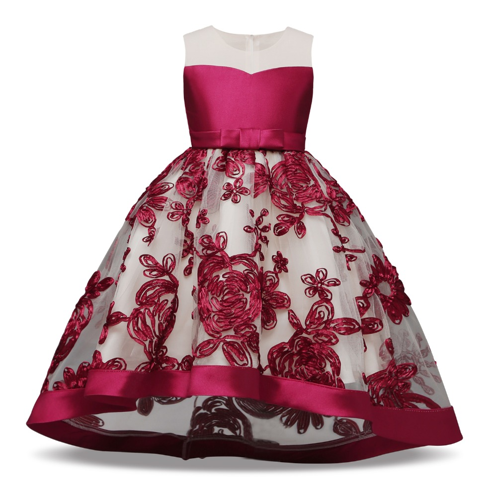 2f8fda3800c77 Girls Party Frocks Dress Children Wedding Birthday Prom Gown Dress Kids  Lace Embroidery Dresses For Girl