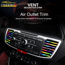 VVVIST 10PCS Car-styling Plating Air Outlet Trim 20cm Strip Interior Vent Grille Switch Dashboard Door Car