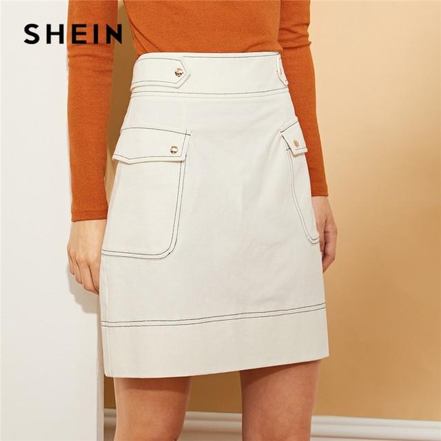 b3955eea11 SHEIN White Cotton Contrast Stitch Pocket Side Skirt Elegant Zipper Back  Sheath Skirts Womem Autumn Minimalist