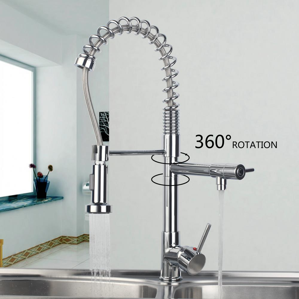 Hot Cold Deck Mount Kitchen Torneira Cozinha Pull Out Down Swivel Stream Spray Single Handle Basin