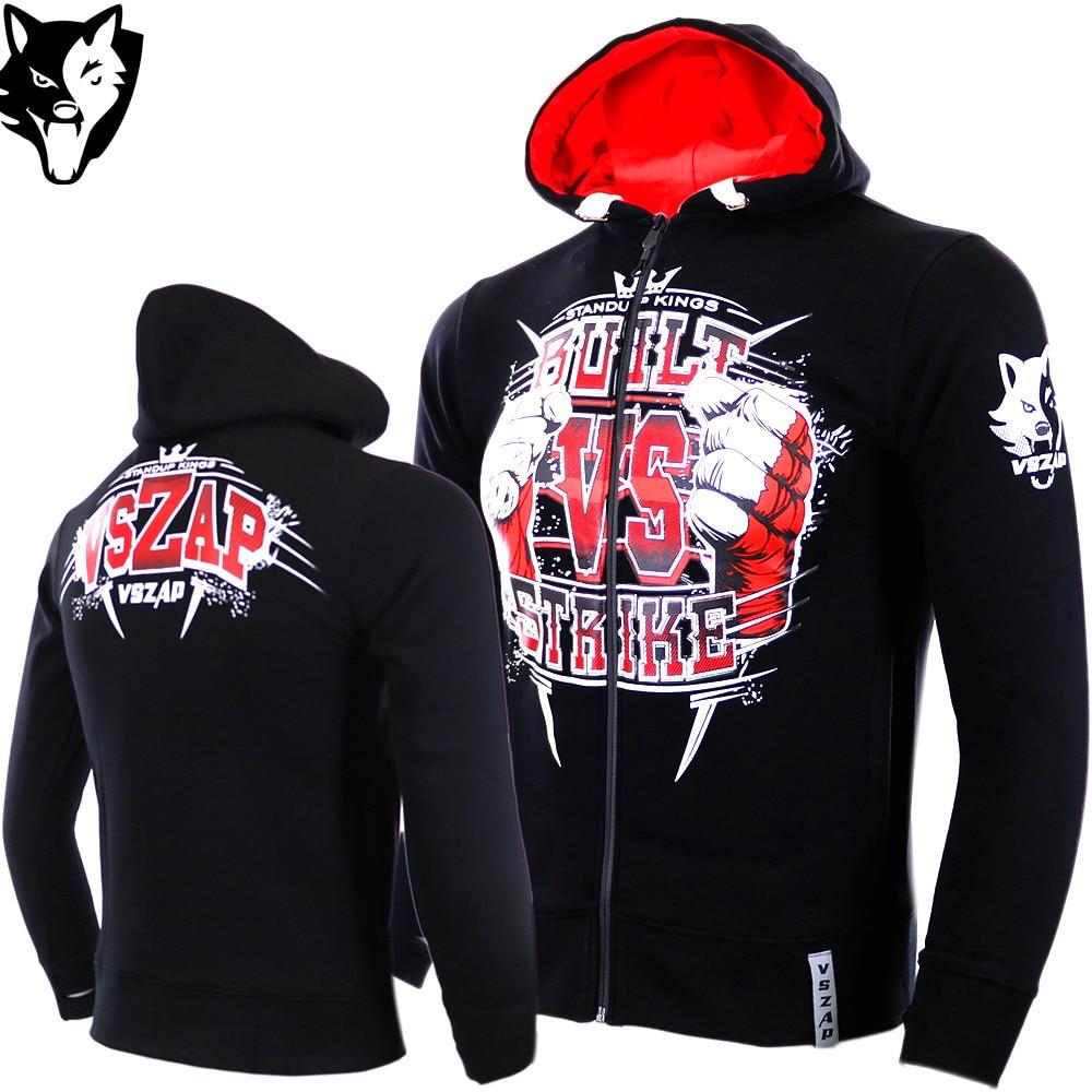 VSZAP BUILT 2 FIGHT Boxing Long-sleeved Hoodie Male MMA Fight Kickboxing Martial Arts Fitness Sport Men Sweatshirt