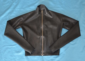 Latex Rubber t-shirt Gummi Half Top With Long Sleeves Front Zipper Latex Jacket
