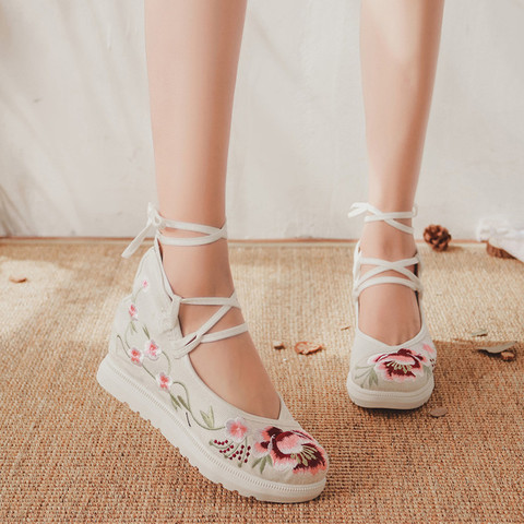 2019 New Women Canvas Increasing Height Ankle Strap Spring Autumn Shoes China Style Vintage Embroiders Wedges Heels Lady Shoes Karachi