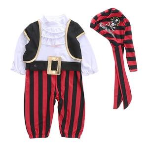 Image 2 - Infant Clothing Baby Outfit Lodumani Captain Pirate Style Long Sleeve Bodysuit&hat&belt&vest Newborn Toddler Boy Clothes Costume