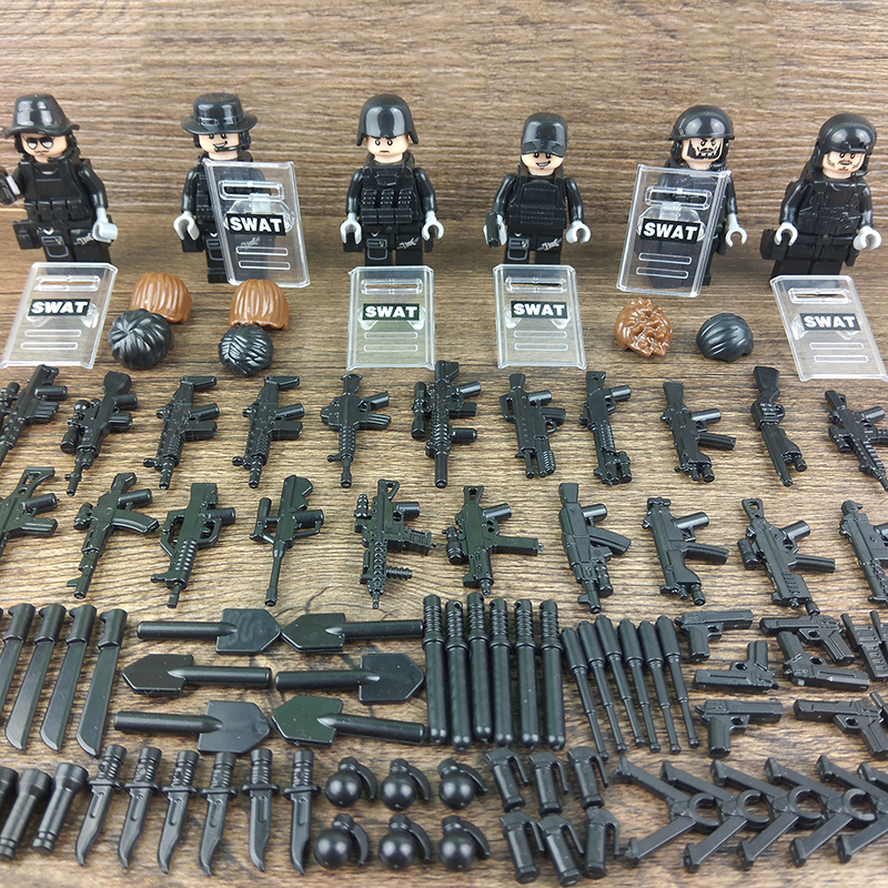 6PCS LegoINGlys Military Swat Team City Police Armed Assault Army soldiers With Weapons Guns Figure Blocks Toys