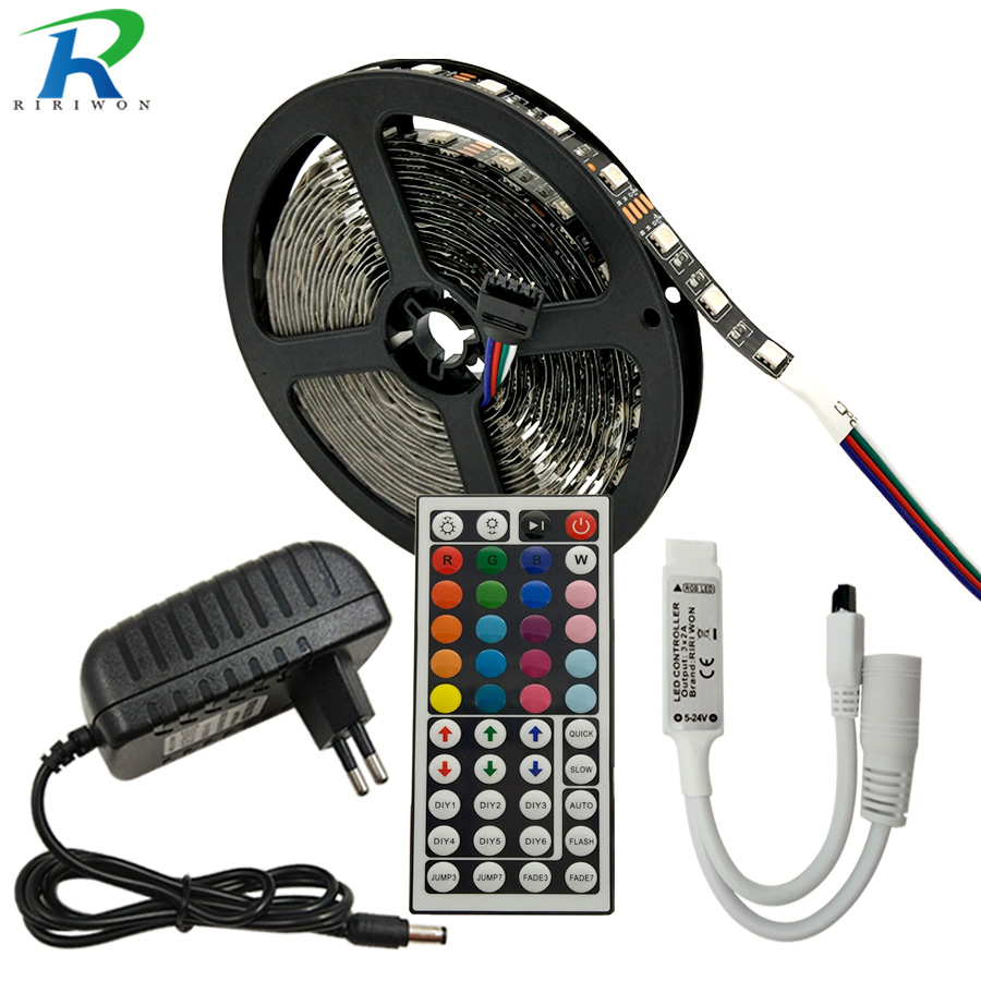 RGB LED Strip DC 12V SMD 5050 Rgb 5M Black Flexible Strip Tape Diode Ribbon Light String + Controller+Power Adapter Decoration