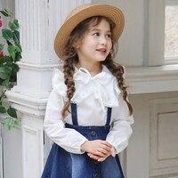 2016 Autumn Black White Polka Dot Blouse For Teens Girls Casual Shirt Tops Korean Style 56789