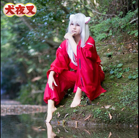 Full set Surrounding the game Inuyasha Anime costume for men cosplay costumes Halloween Costume 2 in 1 top+pants
