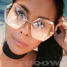 Luxury Rimless Sunglasses Women Brand Designer Summer Oversized Vintage Shades S