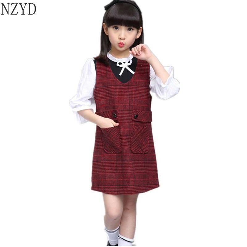 New Fashion Spring Autumn Girl Two Pieces Suit Children Lattice Tops+Vest Dress Suits Korean Leisure Sweet Kids Clothes DC106 2016 autumn and spring new girl fashion cowboy short jacket bust skirt two suits for2 7 years old children clothes set