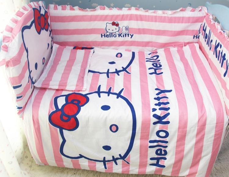 Promotion! 6/7PCS Cartoon Cute Baby Bedding Set , Bed Set Kids 100% Cotton , 120*60/120*70cm