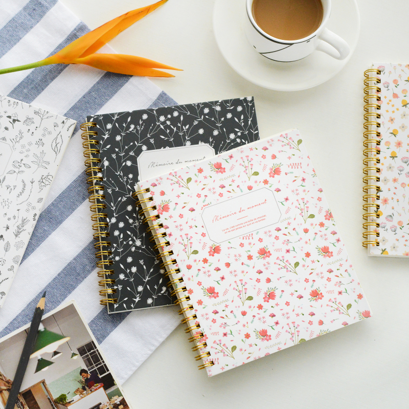 Student office diary small fresh fashion floral coil paper notebook note book agenda journal sprial planner sosw fashion anime theme death note cosplay notebook new school large writing journal 20 5cm 14 5cm