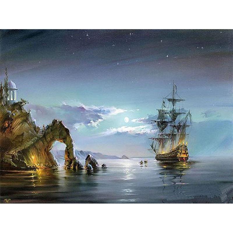 NºSin marco velero paisaje marino pintura de DIY por números ...